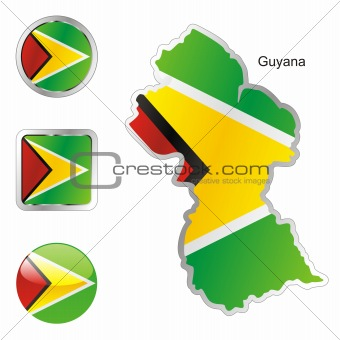 flag of guyana in map and web buttons shapes