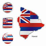 flag of hawaii  in map and web buttons shapes