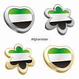 flag of afghanistan in map and web buttons shapes