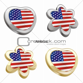 flag of america in map and web buttons shapes