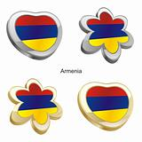 armenia flag in heart and flower shape