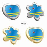 aruba flag in heart and flower shape