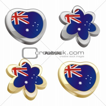 australia flag in heart and flower shape
