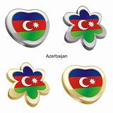 azerbaijan flag in heart and flower shape