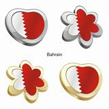bahrain flag in heart and flower shape