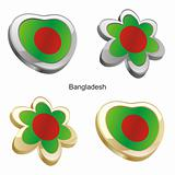 bangladesh flag in heart and flower shape