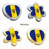 barbados flag in heart and flower shape