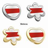 belarus flag in heart and flower shape