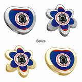 belize flag in heart and flower shape
