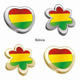 bolivia flag in heart and flower shape
