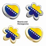 bosnia and herzegovina flag in heart and flower shape