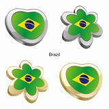 brazil flag in heart and flower shape
