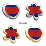cambodia flag in heart and flower shape