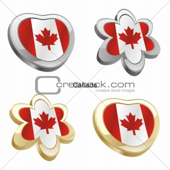 canada flag in heart and flower shape