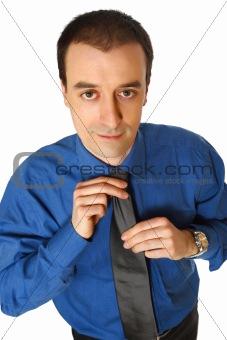 businessman adjust tie