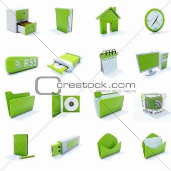 16 green plastic 3d icons