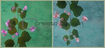 Blobby bougainvillea art split background