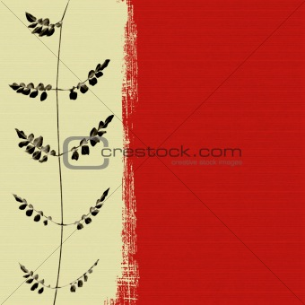 Black leaf on red box  background