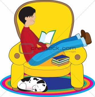Boy and Dog Reading