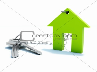 Green home with keys
