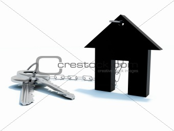 Black home with keys