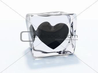 Black heart frozen in ice cube