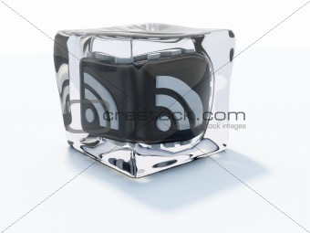 Black rss icon frozen in ice cube