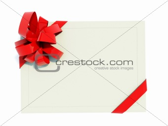 Greeting card with red bow