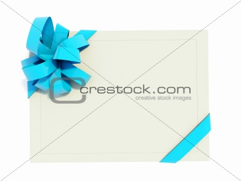 Greeting card with blue bow