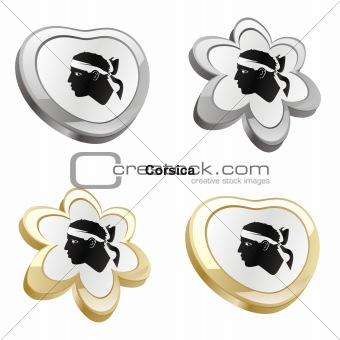 corsica flag in heart and flower shape