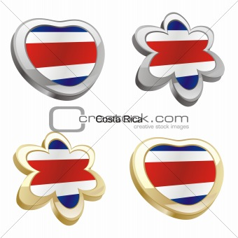 costa rica  flag in heart and flower shape