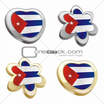 cuba flag in heart and flower shape