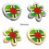 dominica flag in heart and flower shape