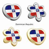 dominican republic flag in heart and flower shape
