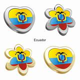 ecuador flag in heart and flower shape