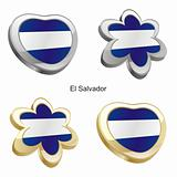el salvador flag in heart and flower shape