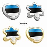 estonia flag in heart and flower shape