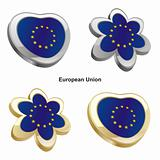 european union flag in heart and flower shape