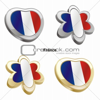 france flag in heart and flower shape