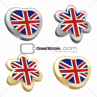 great britain flag in heart and flower shape