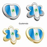 guatemala flag in heart and flower shape
