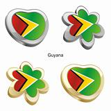 guyana flag in heart and flower shape
