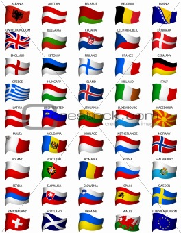 wavy european flags set