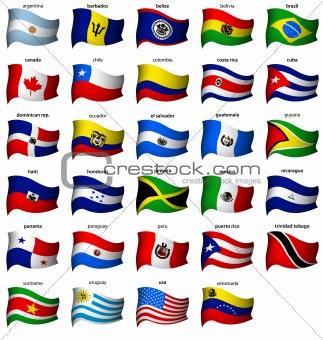wavy american flags set