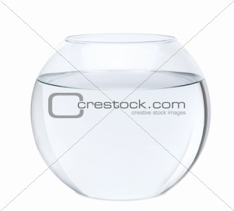 Empty fish bowl with water in front of white background, studio