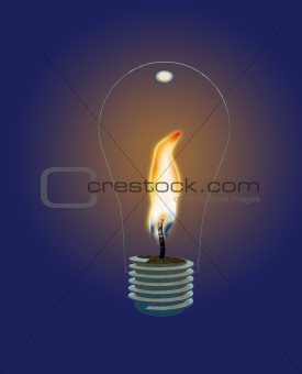 Glass Lightbulb with Flame