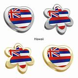 hawaii flag in heart and flower shape