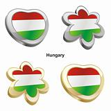 hungary flag in heart and flower shape
