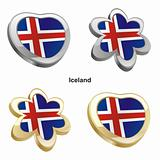 iceland flag in heart and flower shape