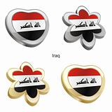 iraq flag in heart and flower shape
